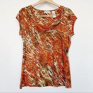 Liz & Co Orange Brown Print Drape Short Sleeve Top